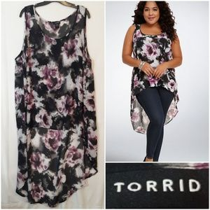 Torrid Floral Hi Low Tank Top